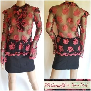 Vtg Petit Pois by Viviana G sheer floral blouse